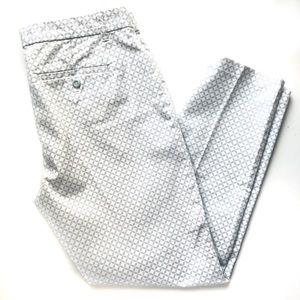 Gap Slim City Crop Pants Grey and White Geometric